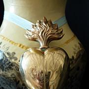 Unusual  sacred heart ND de F ex voto reliquary ormolu  religious