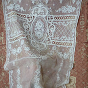 Delicious French  tulle lace curtain floral motifs hand embroidered