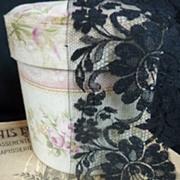 Unused flounce French black lace Blonde de Caen motifs +7 yards