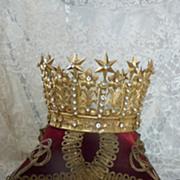 Decorative French gilt metal religious santos crowns star flower motifs