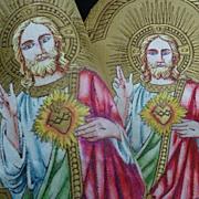 2 religious gold metallic textiles JESUS flaming sacred heart