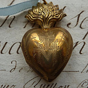 French flaming sacred heart ex voto box ormolu Marie circa 1880