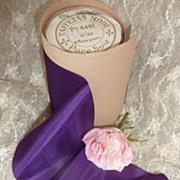 French purple pure silk taffeta ribbon unused  3 1/2 yards circa 1900