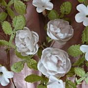 3 Porcelain rose orange blossom flower sprays wedding cushion