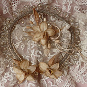 Delicious antique French bride's tiara crown faux pearl bead wax flowers