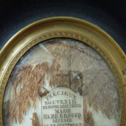 Touching French hair art remembrance mourning frame 1859