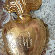 Rare French  sacred heart ex voto  initials SD Rose & Lily motifs