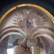 Delicious 19th C. French hair art mourning  frame pansy motifs