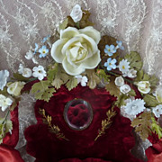 Delicious 19th C. French wedding basket display cushion porcelain roses rosebuds