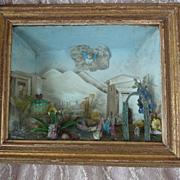 Rare French 18th century diorama box Italian scene glass motifs