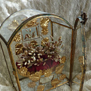 Antique French display wedding vitrine cabinet cushion wax tiara crown