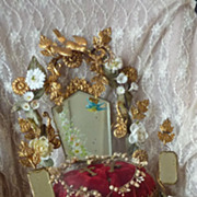 Romantic French ormolu wedding display cushion Birds roses bouquet