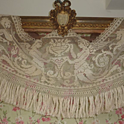 Delicious French filet lace valance cantonniere angels 1900's