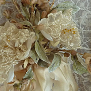19th C. French bride's  wax orange blossom silk wedding bouquet