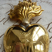 Gleaming  French ormolu flaming sacred heart ex voto M  1880's