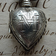 Adorable silver metal French ex voto flaming sacred heart  circa 1880