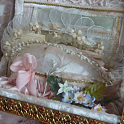 Romantic French pink wedding display casket vitrine wax crown