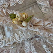 Romantic 19th C. bride's wedding garter wax flowers ribbon