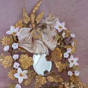 Unusual antique French green wedding cushion  wax crown silk bow