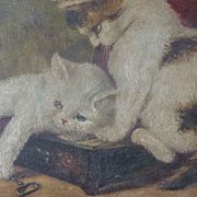 Adorable antique signed oil painting kittens playing with box