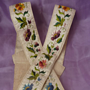 Rare pr. antique Gentleman's embroidered silk braces floral motifs