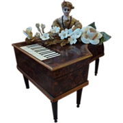 Rare miniature antique musical piano sewing box 1830 doll accessory