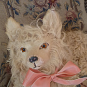 Adorable old French cream fur pajama dog pink ribbon bow