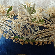 Romantic antique French bride's wedding crown  pearls paste stones