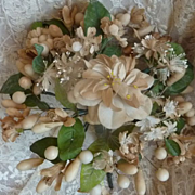 Romantic antique French bride's wax floral wedding bouquet