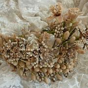Delicious antique French bride's wax wedding crown diadem