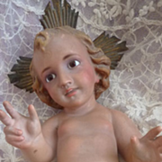 Vintage  statue Baby Jesus with glass eyes crown creche Christmas