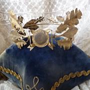 French ormolu wreath crown laurel oak leaves bow box