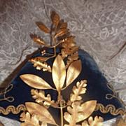 Decorative French ormolu musical award embellishment oak leaf bow