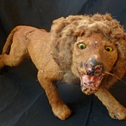 Magnificent 19th C. French toy lion fur covered paper mache
