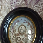 French 19th C. hair art mourning remembrance frame Napoleon III period