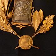 Unusual French ormolu oak laurel leaf wreath award embellishment