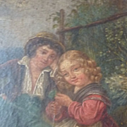Adorable antique painting 2 young children bucolic scene Georgian era