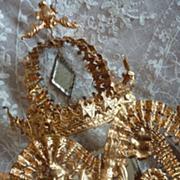 French ormolu wedding cushion display stand crown pediment