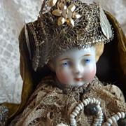 Unusual Madonna & Child antique china head dolls original clothing