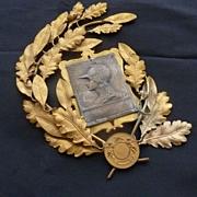 Unusual French ormolu laurel oak leaf wreath Marianne cherubs award embellishment