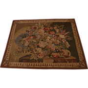 Decorative vintage French tapestry wall hanging floral motifs Aubusson