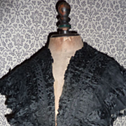 Delicious antique French ladies black silk mousseline cap collar