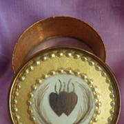 Romantic 19th C. French bonbon box en-twinned hearts hair art