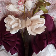 Delicious pair antique French hand made burgundy satin ladies shoes with bows