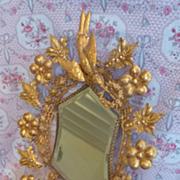 Delicious 19th C. French bride's ormolu boudoir wedding cushion display stand silk cushion
