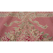 Faded grandeur French wide pink linen toile fabric panel  floral swags bows +7 yards panel no.2