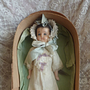 Adorable antique poured wax doll original clothes stockings wooden box