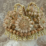 Delicious 19th C. French unusual bride's wax crown : tiara : diadem with daisy like motifs