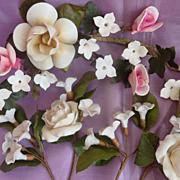 5 antique French porcelain bouquets globe de mariee roses orange blossom