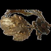 Rare French ormolu laurel oak leaf award crown cross swords ribbon bow medallion